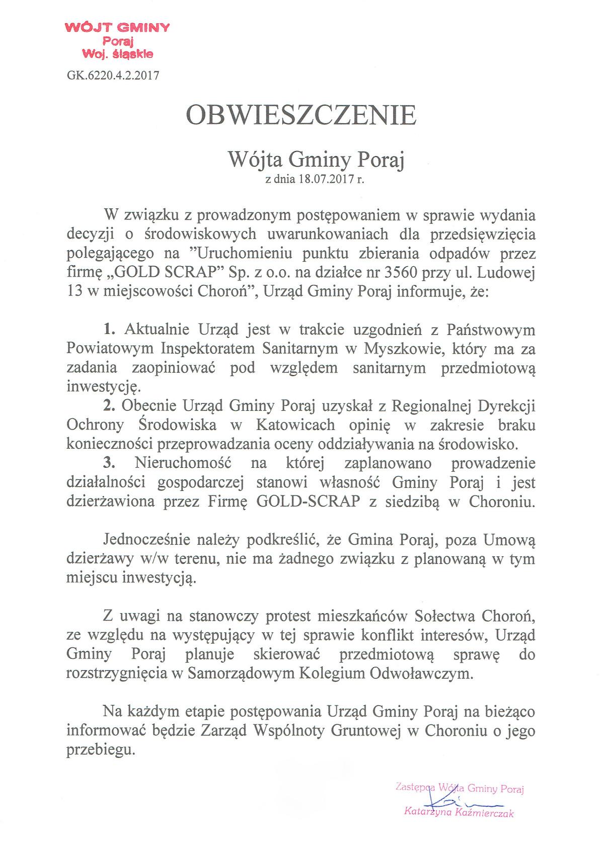 Obwieszczenie Wójta Gminy Poraj z dnia 18.07.2017 r.