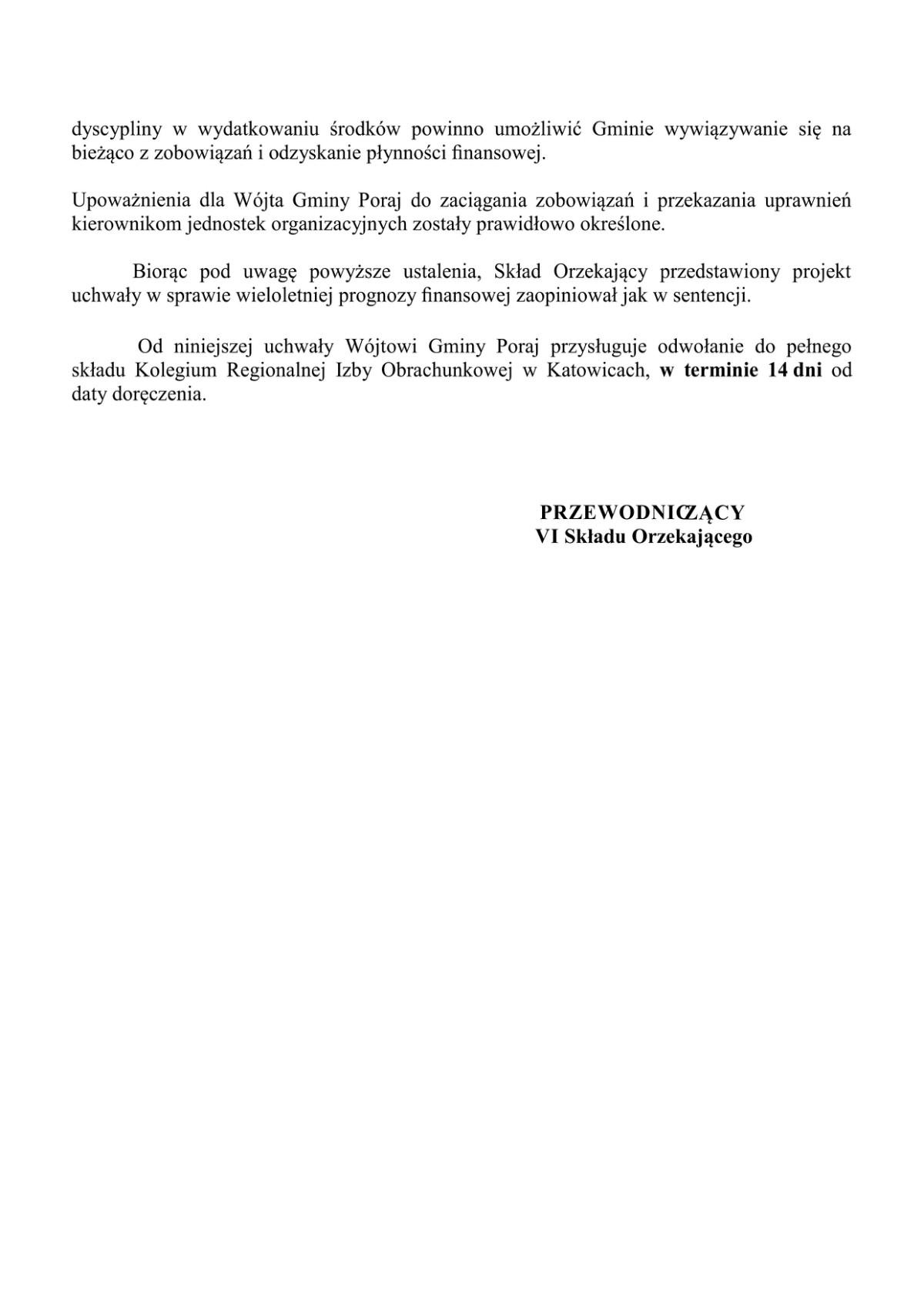 opinia RIO WPF Gmina Poraj