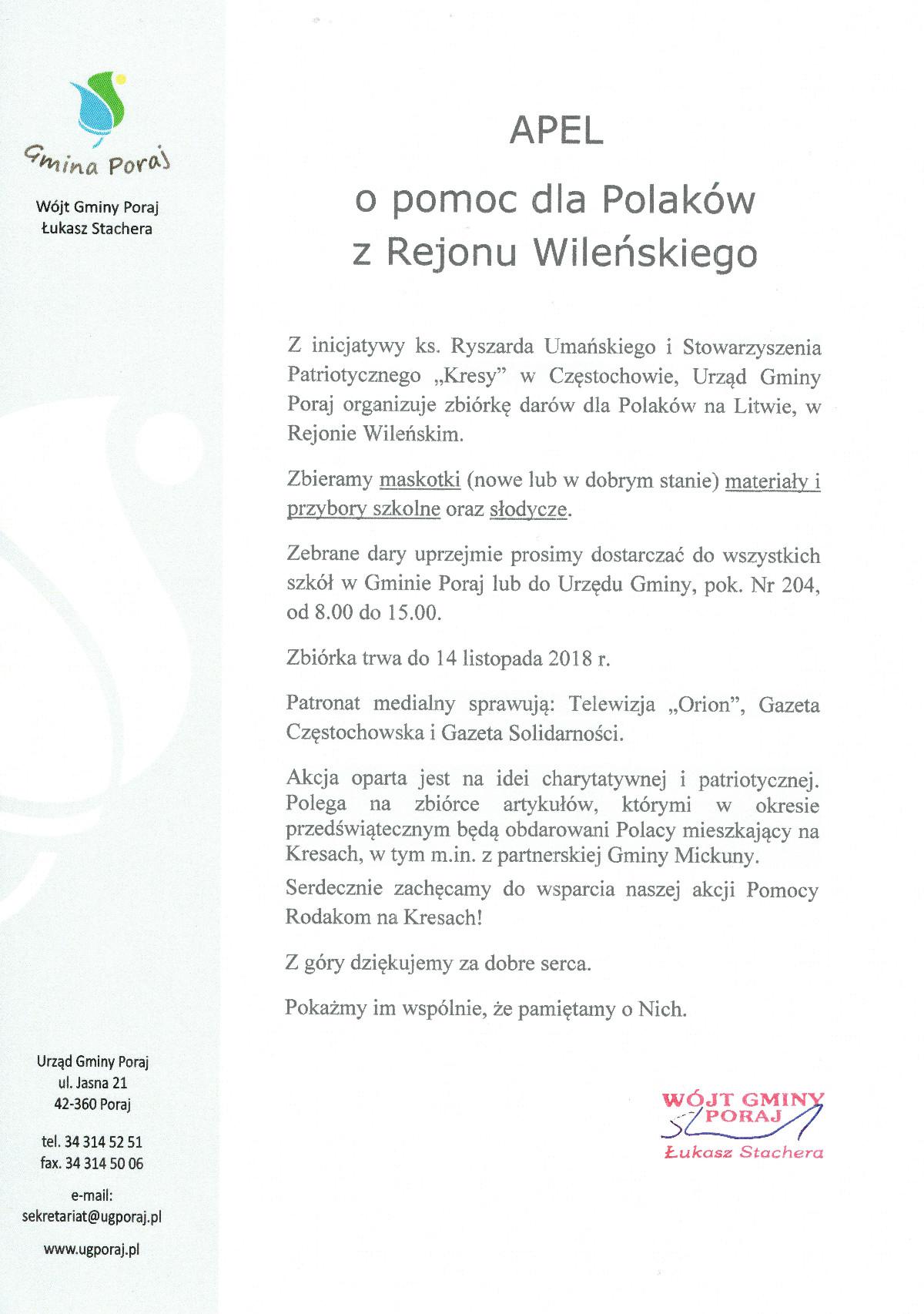 Apel o pomoc dla Polaków z Rejonu Wileńskiego