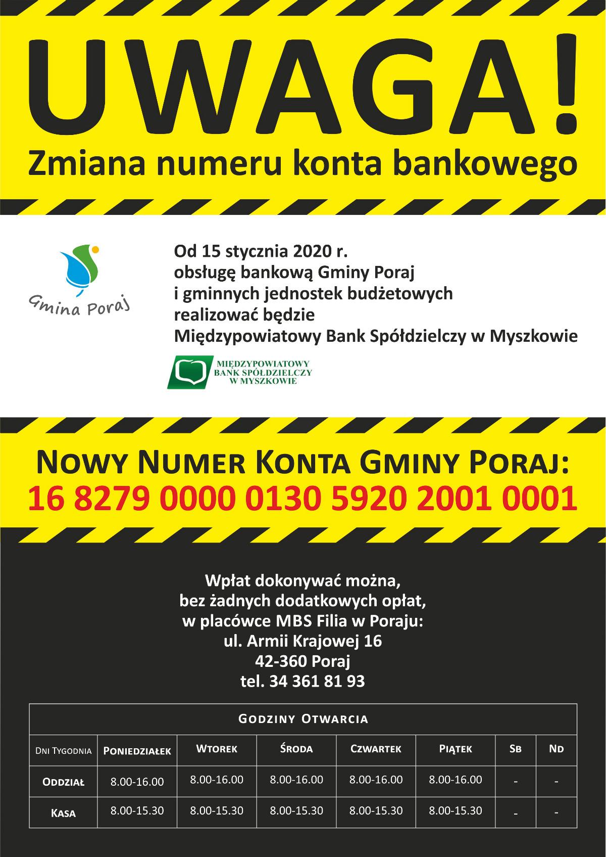 Zmiana numeru konta bankowego gmina poraj